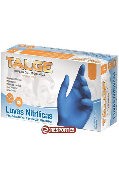Luva Talge Nitrílica Azul