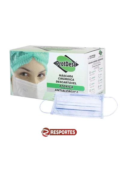 Máscara Descartável Tripla Azul c/ Elástico - 50 unidades